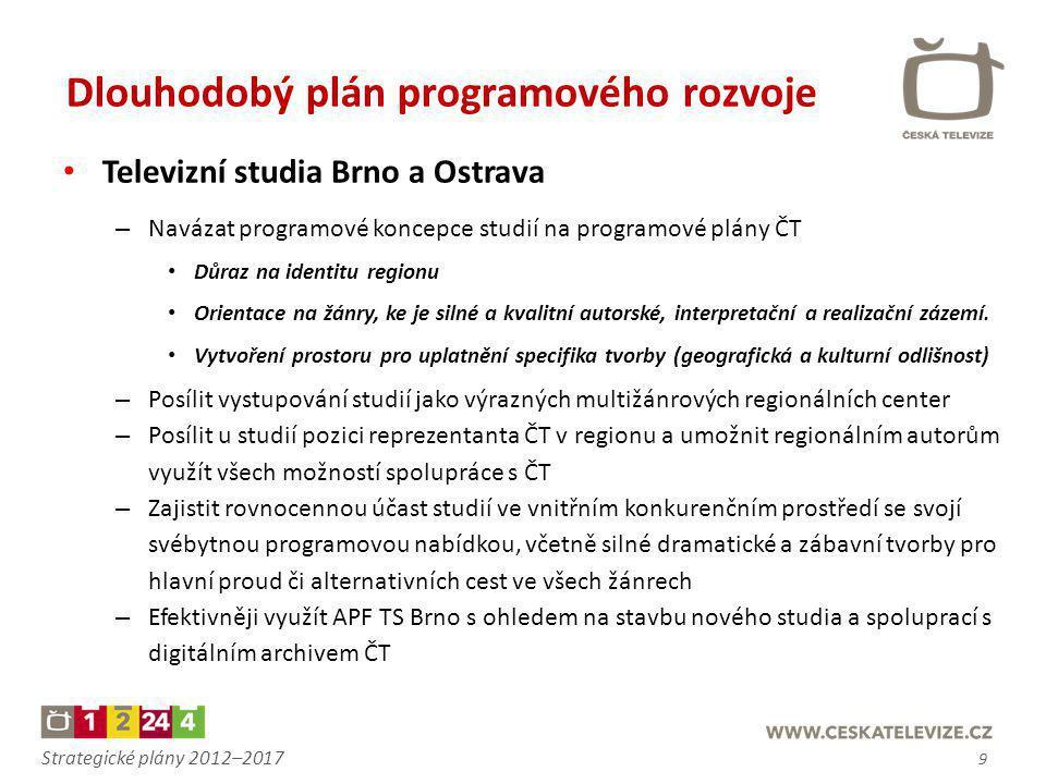 Strategické plány 2012–2017 • Televizní studia Brno a Ostrava – Navázat programové koncepce studií na programové plány ČT • Důraz na identitu regionu