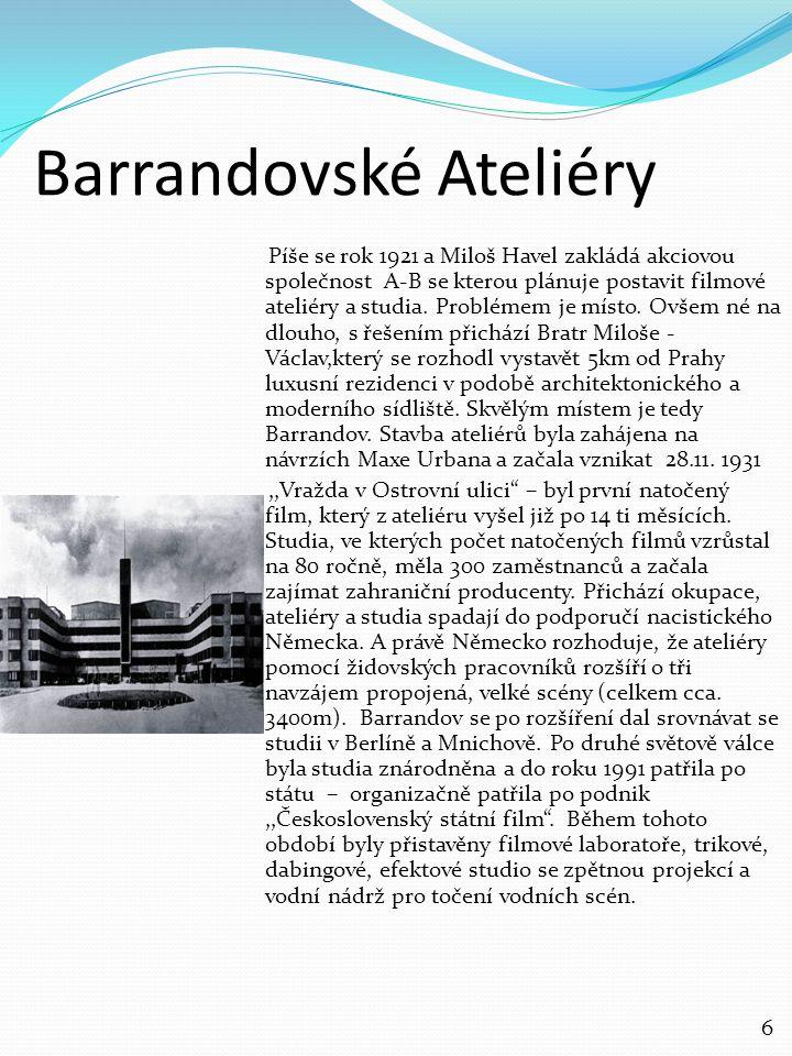 Barrandovské Ateliéry Píše se rok 1921 a Miloš Havel zakládá akciovou společnost A-B se kterou plánuje postavit filmové ateliéry a studia. Problémem j