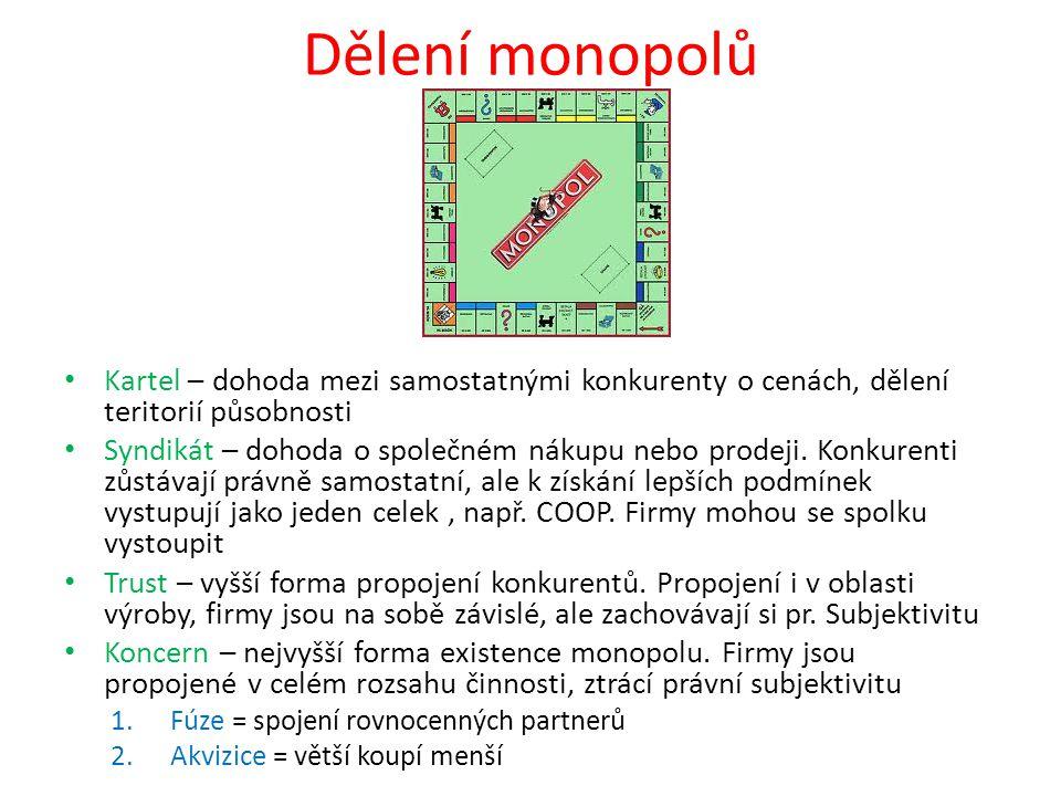 Dělení monopolů • Kartel – dohoda mezi samostatnými konkurenty o cenách, dělení teritorií působnosti • Syndikát – dohoda o společném nákupu nebo prode