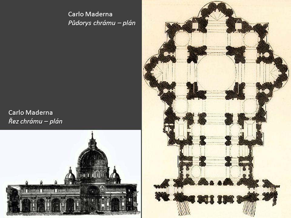Carlo Maderna Půdorys chrámu – plán Carlo Maderna Řez chrámu – plán