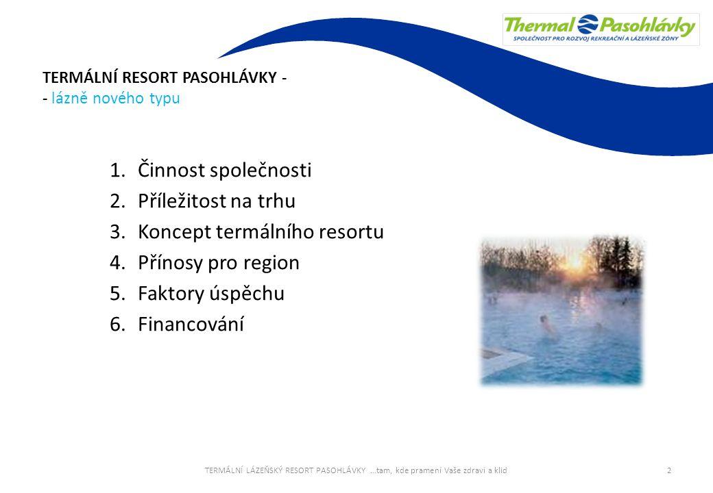TERMÁLNÍ RESORT PASOHLÁVKY - - lázně nového typu 1.Činnost společnosti 2.Příležitost na trhu 3.Koncept termálního resortu 4.Přínosy pro region 5.Fakto