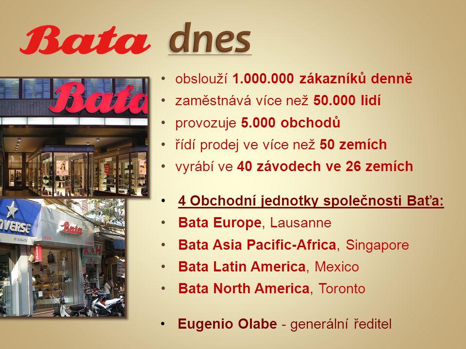 •obslouží 1.000.000 zákazníků denně •zaměstnává více než 50.000 lidí •provozuje 5.000 obchodů •řídí prodej ve více než 50 zemích •vyrábí ve 40 závodech ve 26 zemích •4 Obchodní jednotky společnosti Baťa: •Bata Europe, Lausanne •Bata Asia Pacific-Africa, Singapore •Bata Latin America, Mexico •Bata North America, Toronto •Eugenio Olabe - generální ředitel