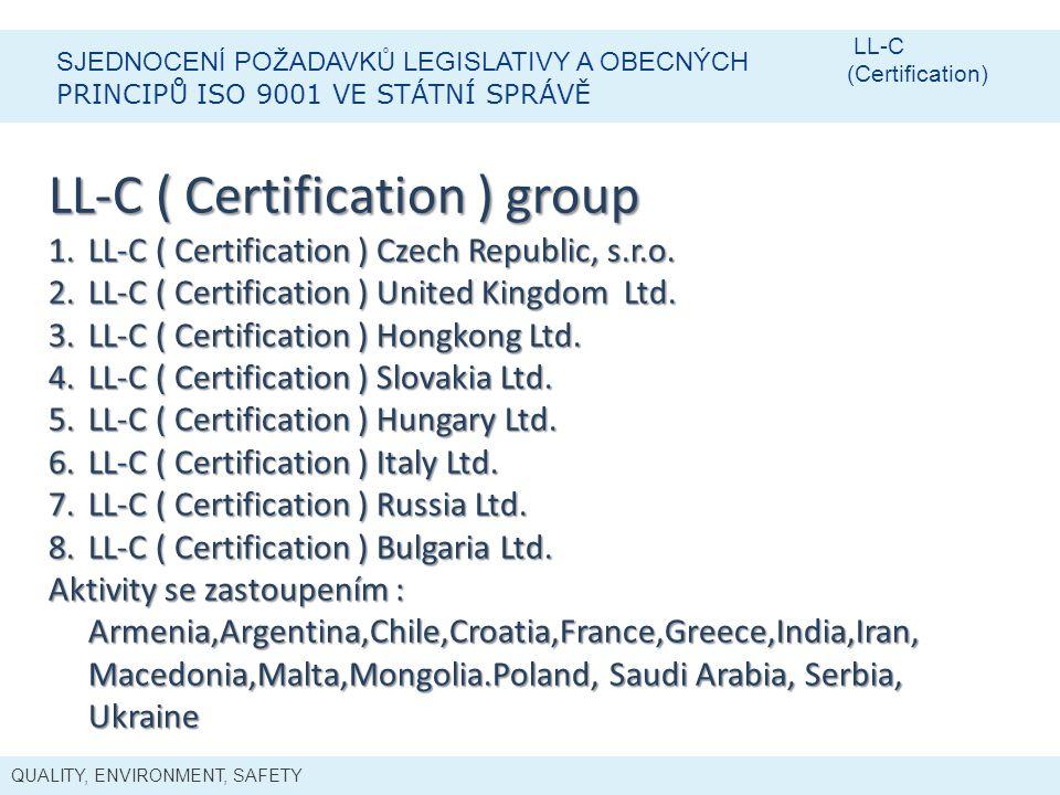 QUALITY, ENVIRONMENT, SAFETY SJEDNOCENÍ POŽADAVKŮ LEGISLATIVY A OBECNÝCH PRINCIPŮ ISO 9001 VE STÁTNÍ SPRÁVĚ LL-C (Certification) LL-C ( Certification ) group 1.LL-C ( Certification ) Czech Republic, s.r.o.