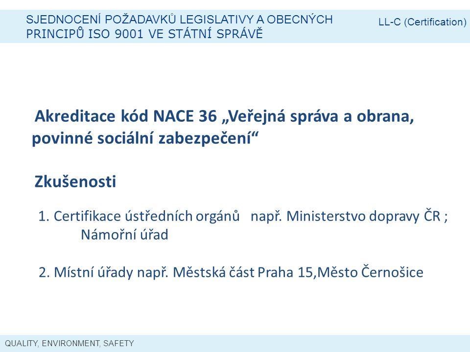 """QUALITY, ENVIRONMENT, SAFETY SJEDNOCENÍ POŽADAVKŮ LEGISLATIVY A OBECNÝCH PRINCIPŮ ISO 9001 VE STÁTNÍ SPRÁVĚ LL-C (Certification) Akreditace kód NACE 36 """"Veřejná správa a obrana, povinné sociální zabezpečení Zkušenosti 1."""
