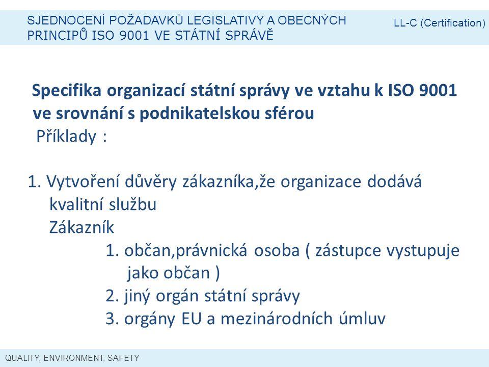 QUALITY, ENVIRONMENT, SAFETY SJEDNOCENÍ POŽADAVKŮ LEGISLATIVY A OBECNÝCH PRINCIPŮ ISO 9001 VE STÁTNÍ SPRÁVĚ LL-C (Certification) Specifika organizací státní správy ve vztahu k ISO 9001 ve srovnání s podnikatelskou sférou Příklady : 1.