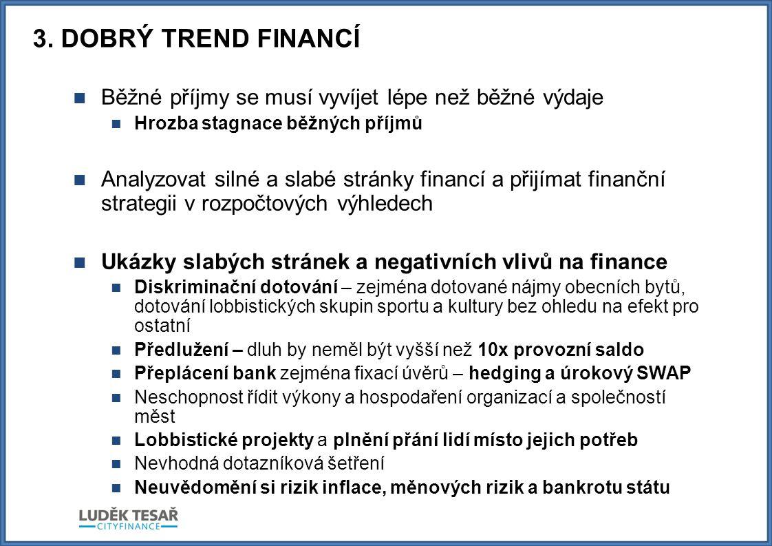 3. DOBRÝ TREND FINANCÍ  Běžné příjmy se musí vyvíjet lépe než běžné výdaje  Hrozba stagnace běžných příjmů  Analyzovat silné a slabé stránky financ