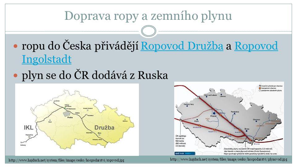Doprava ropy a zemního plynu  ropu do Česka přivádějí Ropovod Družba a Ropovod IngolstadtRopovod DružbaRopovod Ingolstadt  plyn se do ČR dodává z Ru