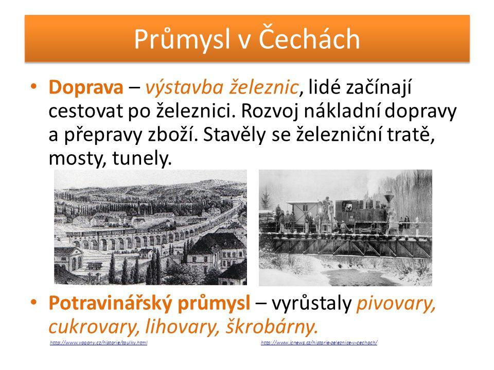 Průmysl v Čechách • Doprava – výstavba železnic, lidé začínají cestovat po železnici. Rozvoj nákladní dopravy a přepravy zboží. Stavěly se železniční