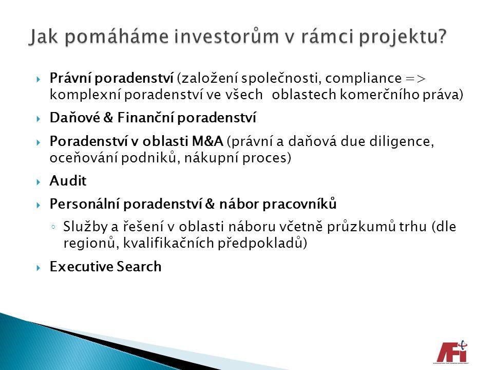  Právní poradenství (založení společnosti, compliance => komplexní poradenství ve všech oblastech komerčního práva)  Daňové & Finanční poradenství 