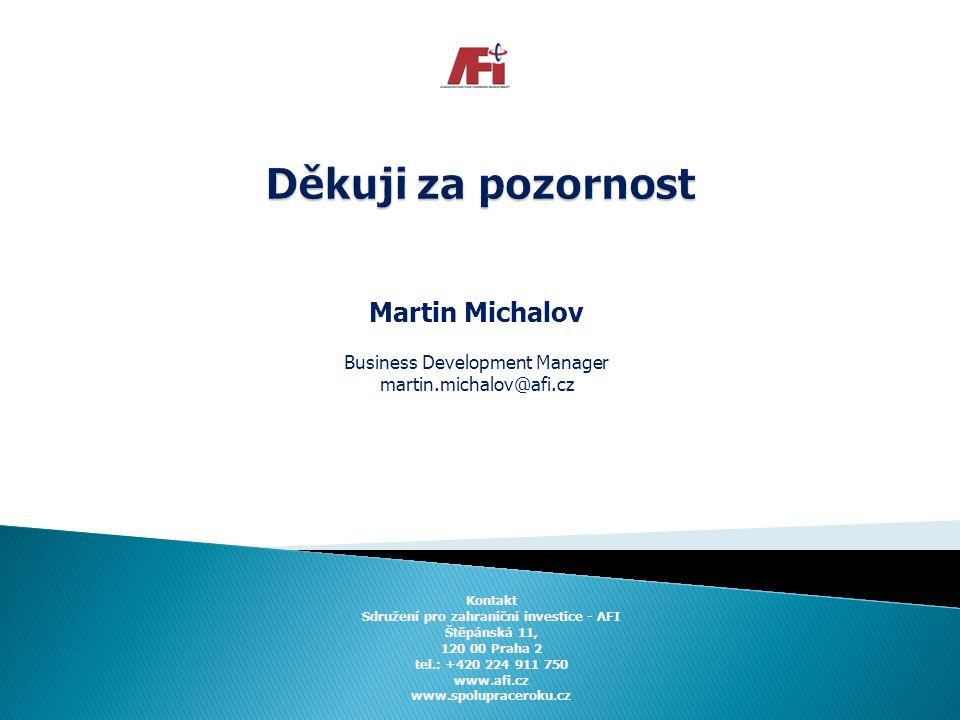 Martin Michalov Business Development Manager martin.michalov@afi.cz Kontakt Sdružení pro zahraniční investice - AFI Štěpánská 11, 120 00 Praha 2 tel.: