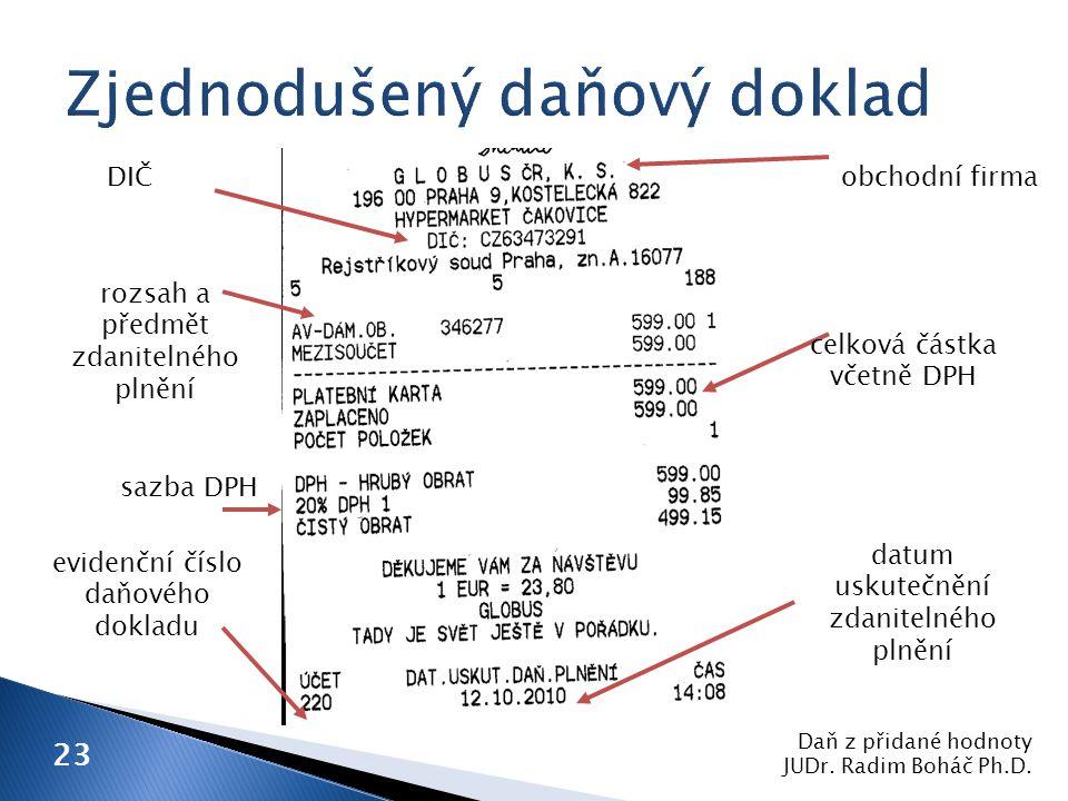 DIČ evidenční číslo daňového dokladu rozsah a předmět zdanitelného plnění sazba DPH obchodní firma datum uskutečnění zdanitelného plnění celková částka včetně DPH Daň z přidané hodnoty JUDr.