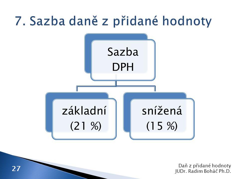 Daň z přidané hodnoty JUDr. Radim Boháč Ph.D. 27 Sazba DPH základní (21 %) snížená (15 %)