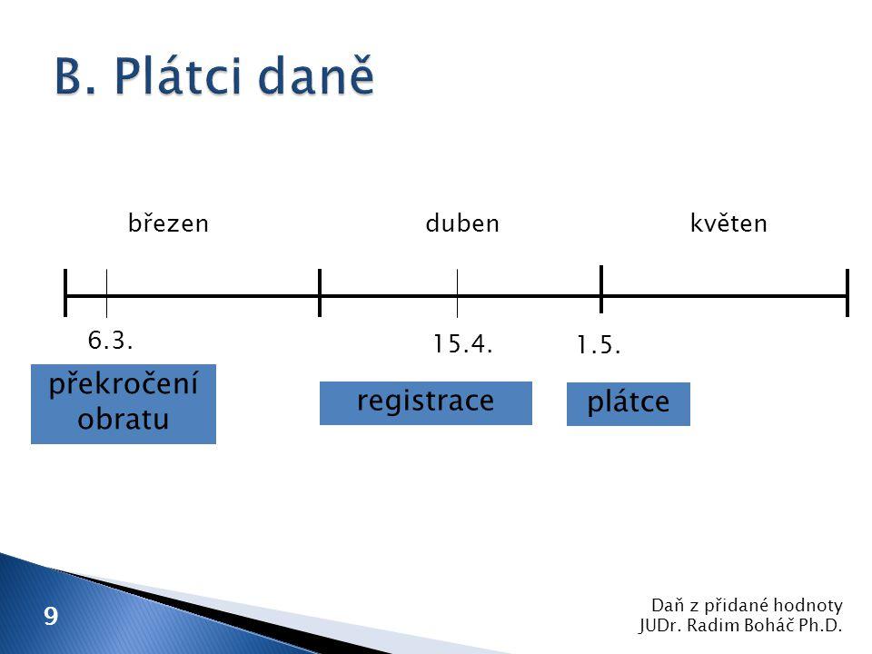 Daň z přidané hodnoty JUDr. Radim Boháč Ph.D. 9 1.5.