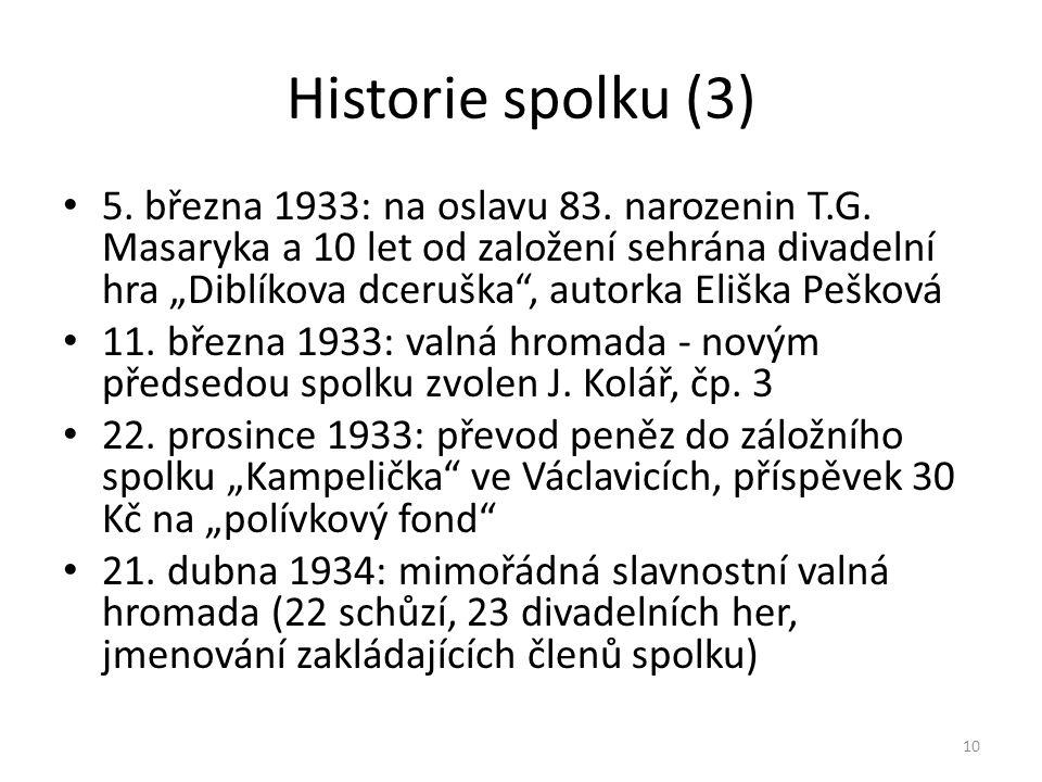 """Historie spolku (3) • 5. března 1933: na oslavu 83. narozenin T.G. Masaryka a 10 let od založení sehrána divadelní hra """"Diblíkova dceruška"""", autorka E"""