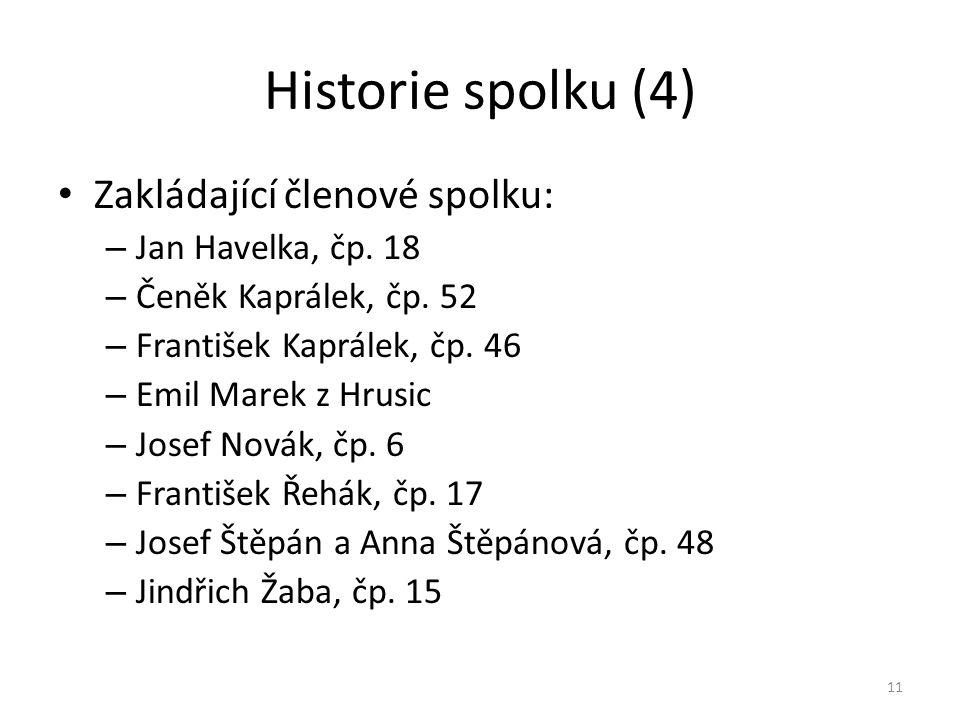 Historie spolku (4) • Zakládající členové spolku: – Jan Havelka, čp. 18 – Čeněk Kaprálek, čp. 52 – František Kaprálek, čp. 46 – Emil Marek z Hrusic –