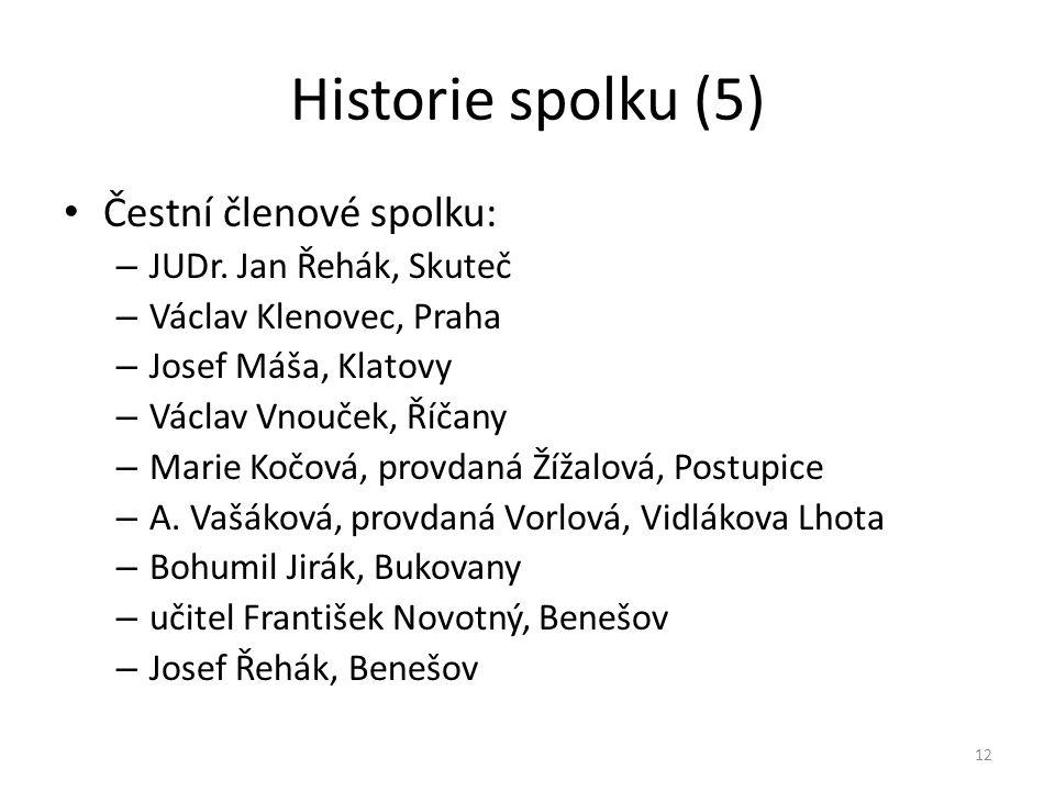 Historie spolku (5) • Čestní členové spolku: – JUDr. Jan Řehák, Skuteč – Václav Klenovec, Praha – Josef Máša, Klatovy – Václav Vnouček, Říčany – Marie