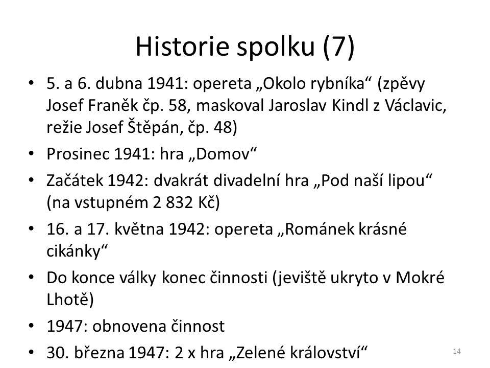 """Historie spolku (7) • 5. a 6. dubna 1941: opereta """"Okolo rybníka"""" (zpěvy Josef Franěk čp. 58, maskoval Jaroslav Kindl z Václavic, režie Josef Štěpán,"""