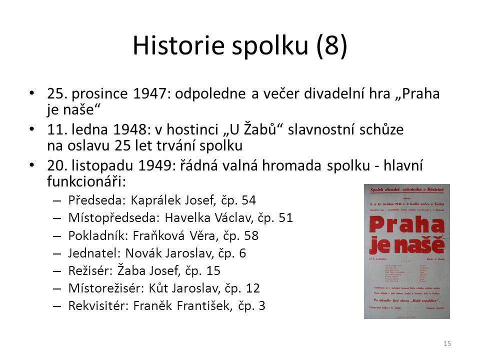 """Historie spolku (8) • 25. prosince 1947: odpoledne a večer divadelní hra """"Praha je naše"""" • 11. ledna 1948: v hostinci """"U Žabů"""" slavnostní schůze na os"""