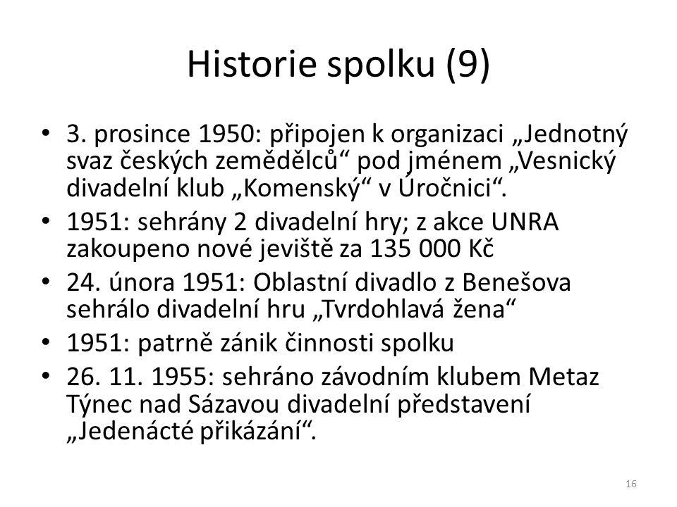 """Historie spolku (9) • 3. prosince 1950: připojen k organizaci """"Jednotný svaz českých zemědělců"""" pod jménem """"Vesnický divadelní klub """"Komenský"""" v Úročn"""
