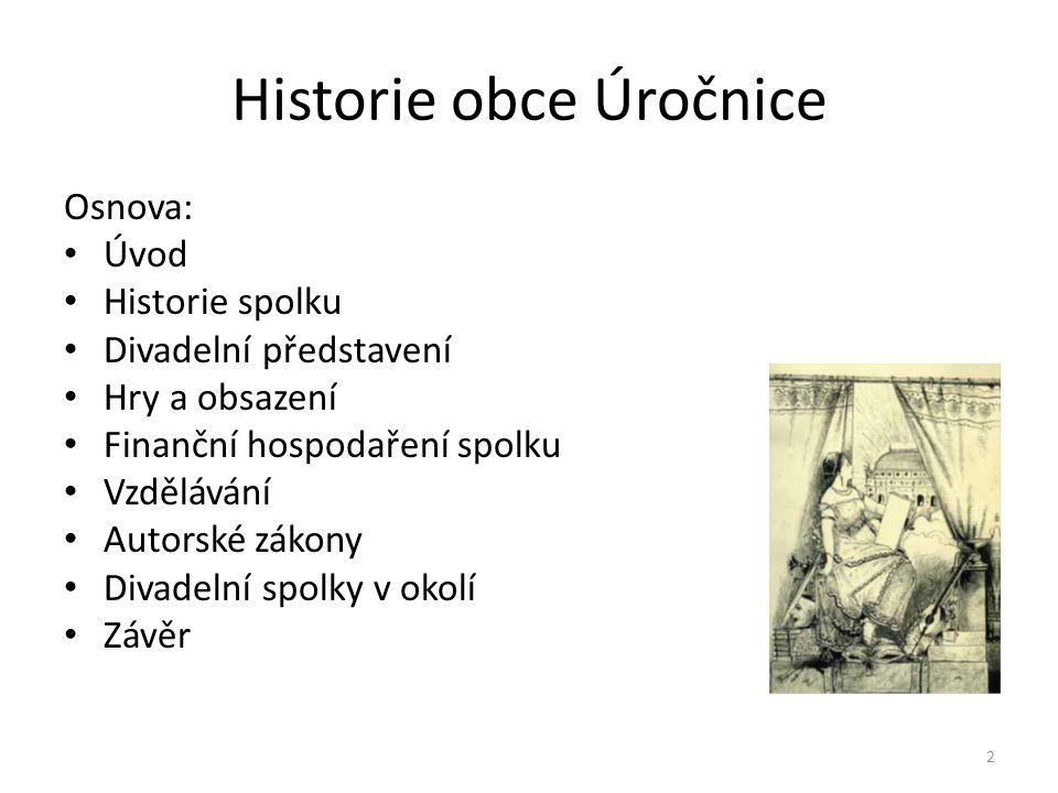 Historie obce Úročnice Osnova: • Úvod • Historie spolku • Divadelní představení • Hry a obsazení • Finanční hospodaření spolku • Vzdělávání • Autorské