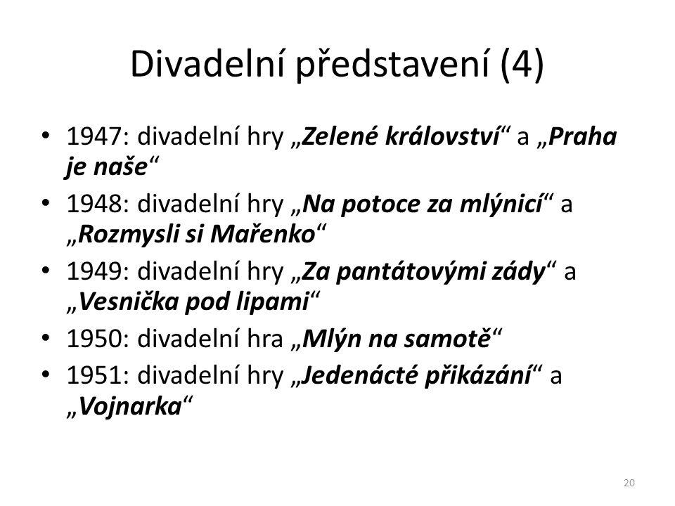 """Divadelní představení (4) • 1947: divadelní hry """"Zelené království"""" a """"Praha je naše"""" • 1948: divadelní hry """"Na potoce za mlýnicí"""" a """"Rozmysli si Maře"""
