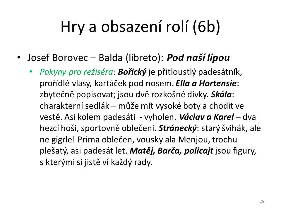 Hry a obsazení rolí (6b) • Josef Borovec – Balda (libreto): Pod naší lípou • Pokyny pro režiséra: Bořický je přitloustlý padesátník, prořídlé vlasy, k