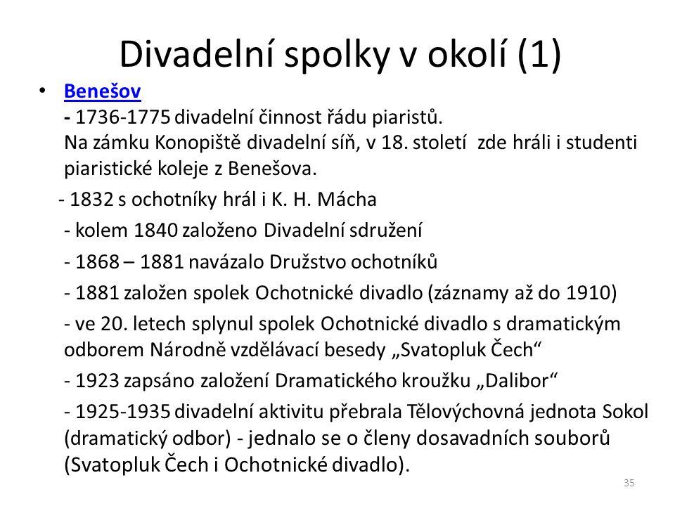 Divadelní spolky v okolí (1) • Benešov - 1736-1775 divadelní činnost řádu piaristů. Na zámku Konopiště divadelní síň, v 18. století zde hráli i studen