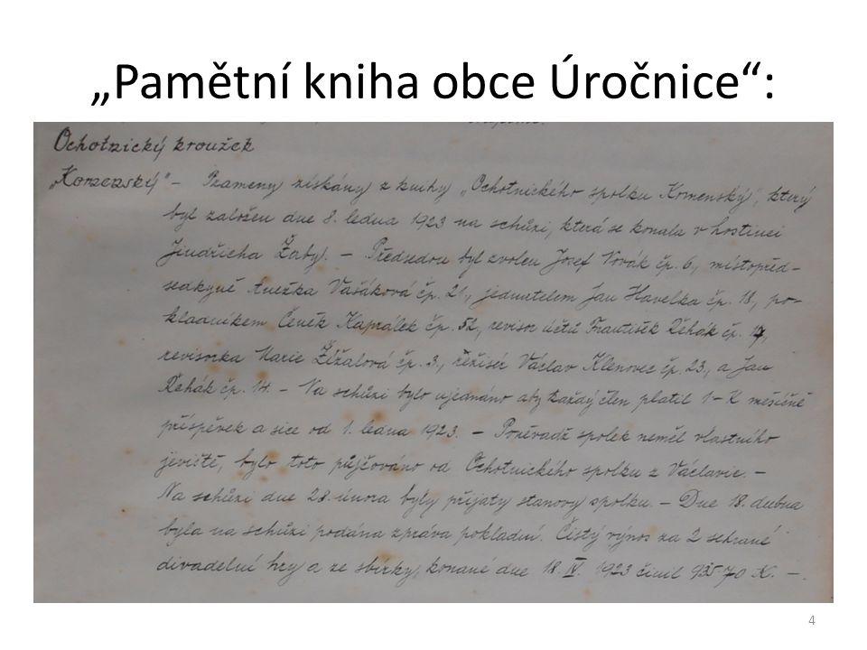 """""""Pamětní kniha obce Úročnice"""": 4"""