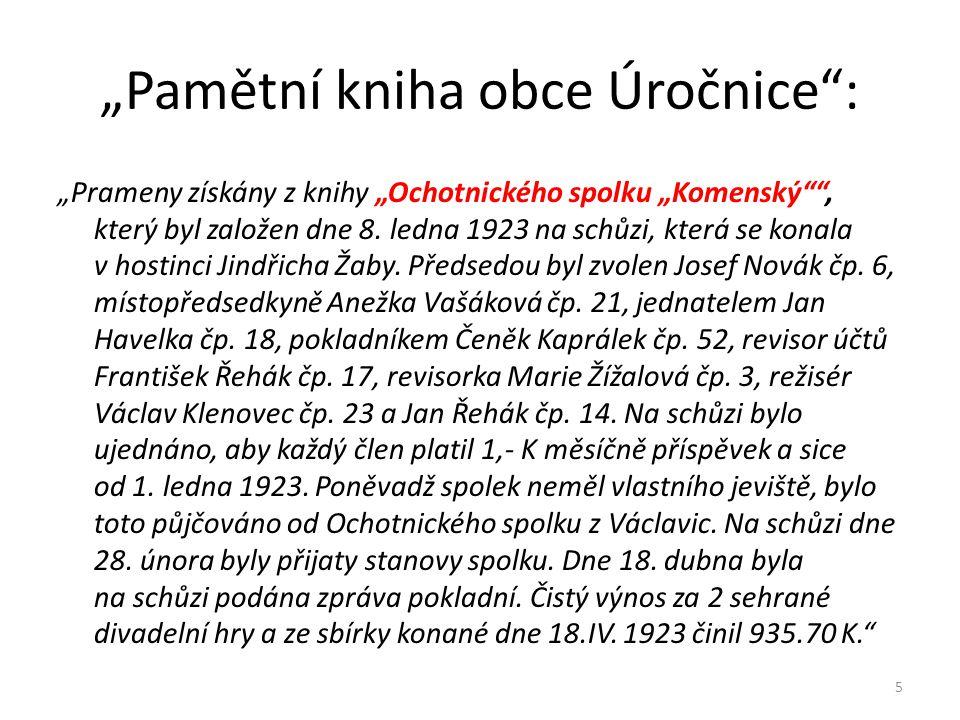 """""""Prameny získány z knihy """"Ochotnického spolku """"Komenský"""""""", který byl založen dne 8. ledna 1923 na schůzi, která se konala v hostinci Jindřicha Žaby. P"""