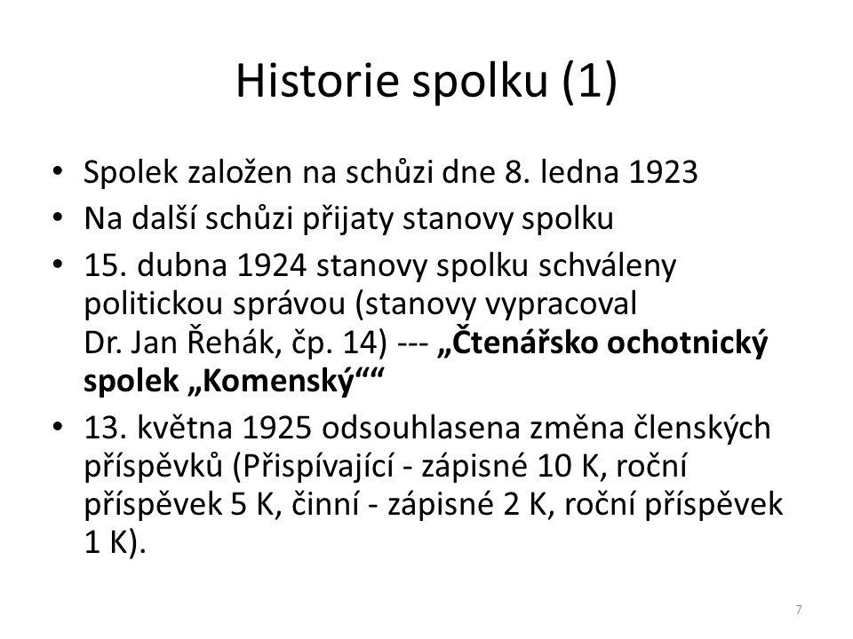 Historie spolku (1) 7 • Spolek založen na schůzi dne 8. ledna 1923 • Na další schůzi přijaty stanovy spolku • 15. dubna 1924 stanovy spolku schváleny