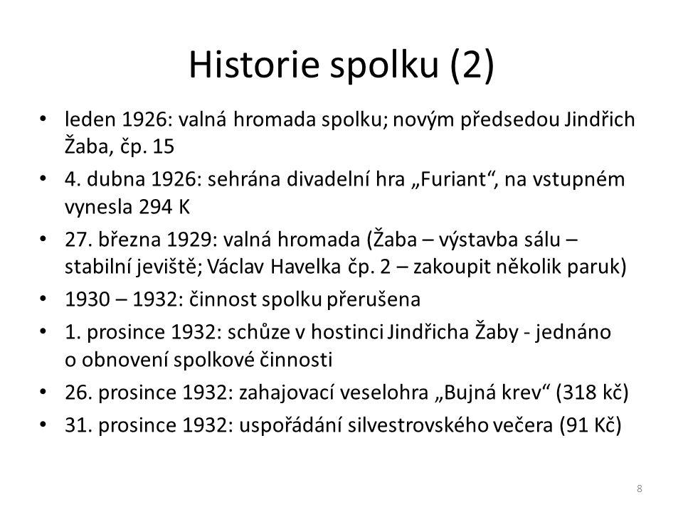 """Historie spolku (2) • leden 1926: valná hromada spolku; novým předsedou Jindřich Žaba, čp. 15 • 4. dubna 1926: sehrána divadelní hra """"Furiant"""", na vst"""
