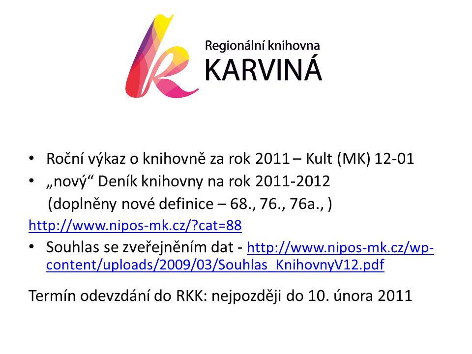 """• Roční výkaz o knihovně za rok 2011 – Kult (MK) 12-01 • """"nový Deník knihovny na rok 2011-2012 (doplněny nové definice – 68., 76., 76a., ) http://www.nipos-mk.cz/?cat=88 • Souhlas se zveřejněním dat - http://www.nipos-mk.cz/wp- content/uploads/2009/03/Souhlas_KnihovnyV12.pdf http://www.nipos-mk.cz/wp- content/uploads/2009/03/Souhlas_KnihovnyV12.pdf Termín odevzdání do RKK: nejpozději do 10."""
