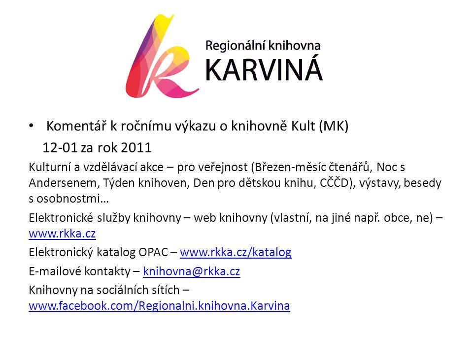 • Komentář k ročnímu výkazu o knihovně Kult (MK) 12-01 za rok 2011 Kulturní a vzdělávací akce – pro veřejnost (Březen-měsíc čtenářů, Noc s Andersenem, Týden knihoven, Den pro dětskou knihu, CČČD), výstavy, besedy s osobnostmi… Elektronické služby knihovny – web knihovny (vlastní, na jiné např.