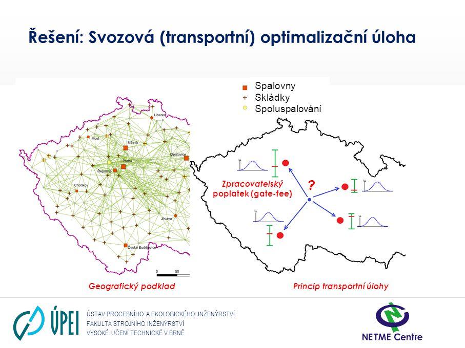 ÚSTAV PROCESNÍHO A EKOLOGICKÉHO INŽENÝRSTVÍ FAKULTA STROJNÍHO INŽENÝRSTVÍ VYSOKÉ UČENÍ TECHNICKÉ V BRNĚ Dopravní úloha – komplexní problém • Podkladová mapa – existence dopravní infrastruktury (silniční a železniční síť, dopravní omezení potenciální výstavba překládacích stanic apod.) • Přehled o existujících.