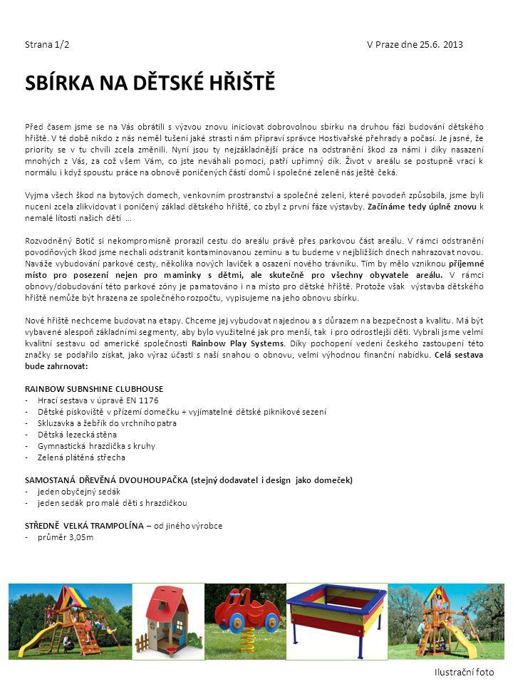 Strana 1/2V Praze dne 25.6. 2013 SBÍRKA NA DĚTSKÉ HŘIŠTĚ Před časem jsme se na Vás obrátili s výzvou znovu iniciovat dobrovolnou sbírku na druhou fázi