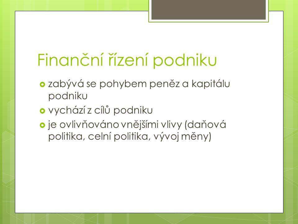 Finanční řízení podniku  zabývá se pohybem peněz a kapitálu podniku  vychází z cílů podniku  je ovlivňováno vnějšími vlivy (daňová politika, celní politika, vývoj měny)