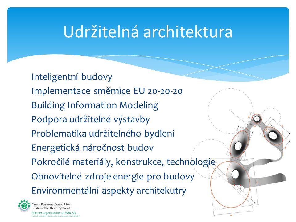 Udržitelná architektura Inteligentní budovy Implementace směrnice EU 20-20-20 Building Information Modeling Podpora udržitelné výstavby Problematika udržitelného bydlení Energetická náročnost budov Pokročilé materiály, konstrukce, technologie Obnovitelné zdroje energie pro budovy Environmentální aspekty architekutry