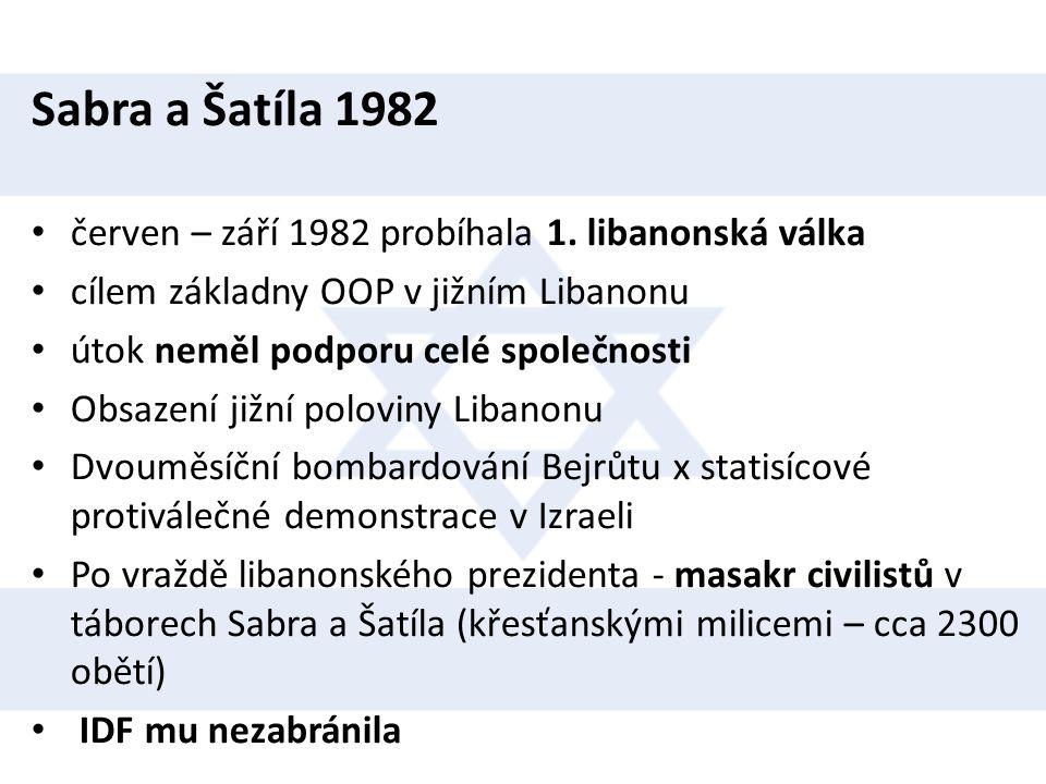 Sabra a Šatíla 1982 • červen – září 1982 probíhala 1. libanonská válka • cílem základny OOP v jižním Libanonu • útok neměl podporu celé společnosti •
