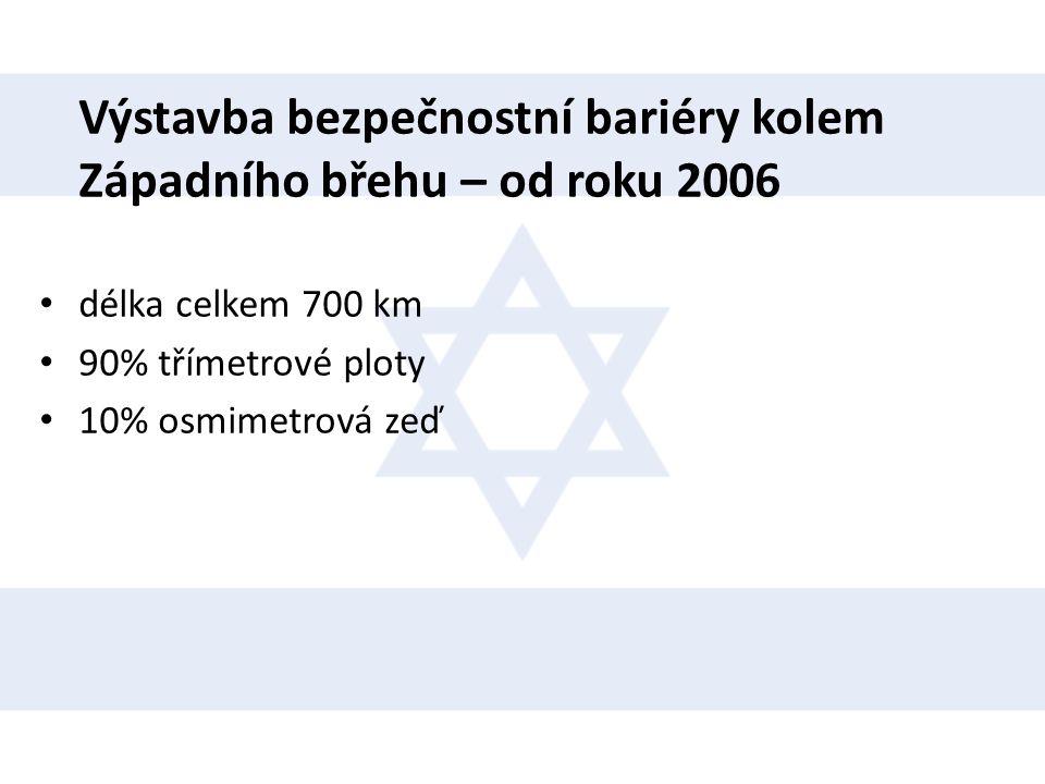 Výstavba bezpečnostní bariéry kolem Západního břehu – od roku 2006 • délka celkem 700 km • 90% třímetrové ploty • 10% osmimetrová zeď
