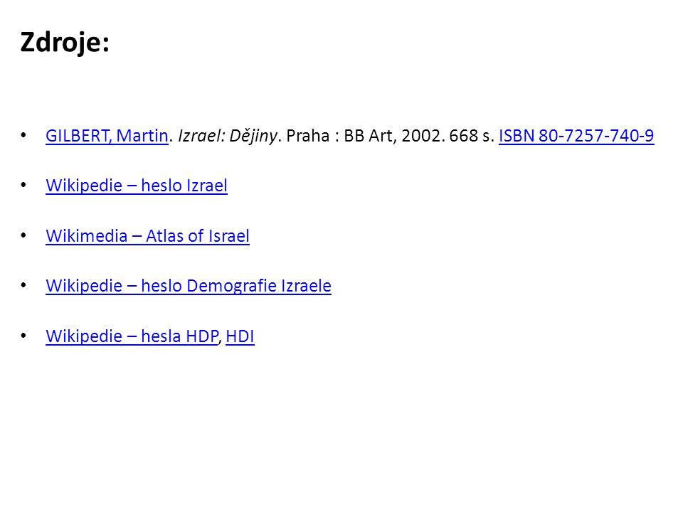 Zdroje: • GILBERT, Martin. Izrael: Dějiny. Praha : BB Art, 2002. 668 s. ISBN 80-7257-740-9 GILBERT, MartinISBN 80-7257-740-9 • Wikipedie – heslo Izrae