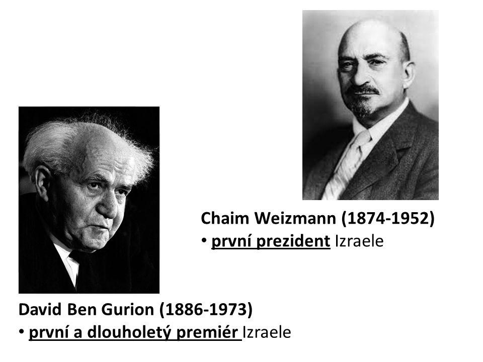 David Ben Gurion (1886-1973) • první a dlouholetý premiér Izraele Chaim Weizmann (1874-1952) • první prezident Izraele
