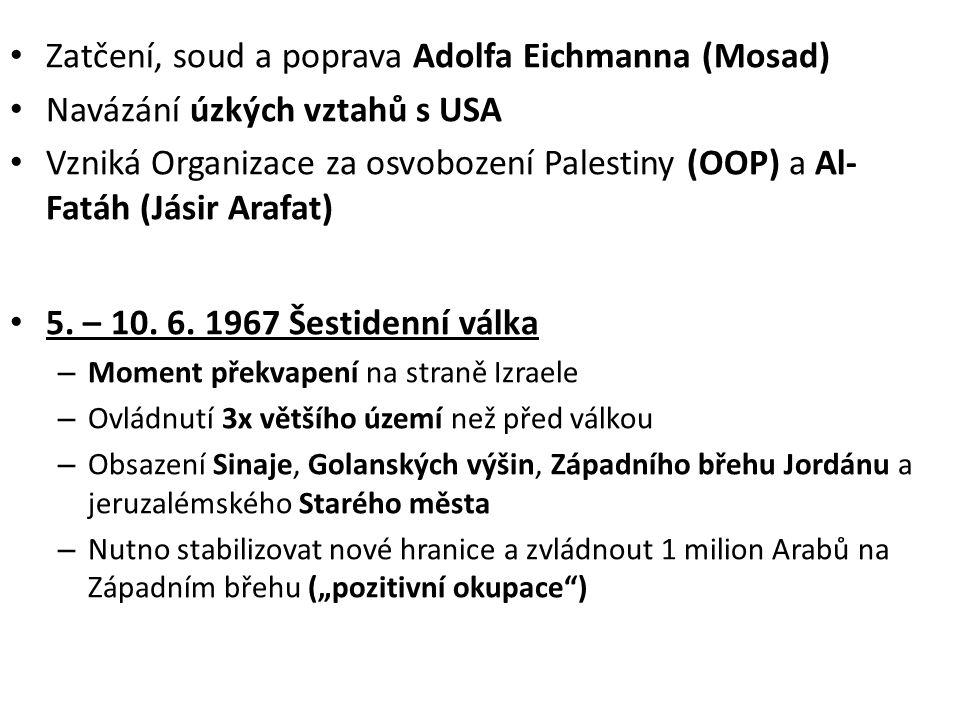 • začíná budování žid.osad na Západním břehu • 1967 – 70 tzv.