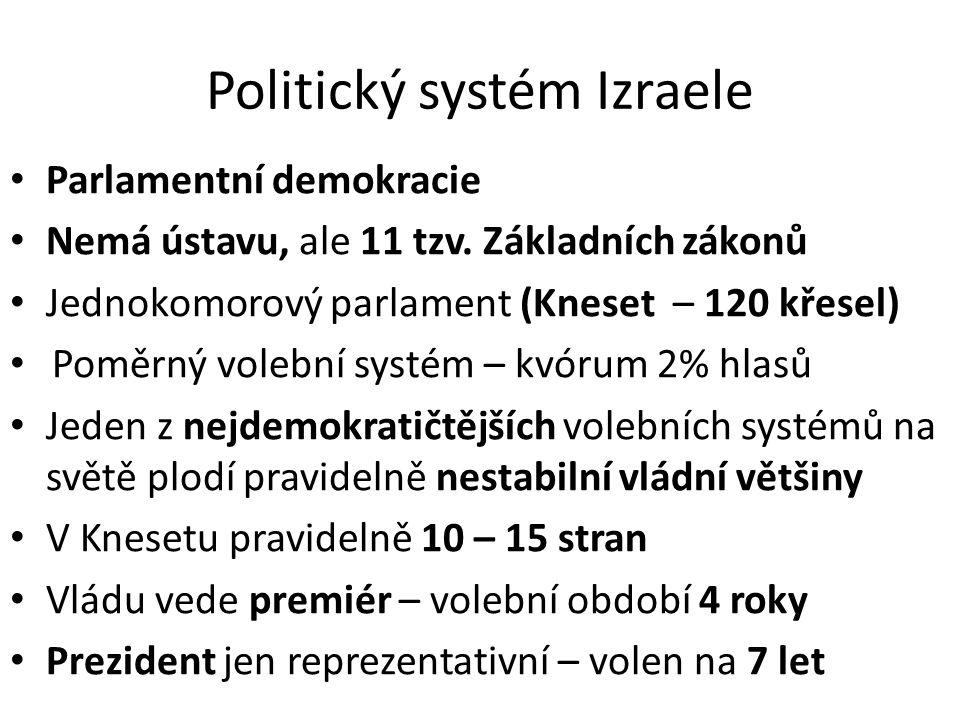 • Nejvýznamnější politické proudy: – Dělnický sionismus – Revizionistický sionismus – Náboženský sionismus (ortodoxní) – Náboženské neortodoxní strany – Antisionistické arabské strany • Prvních cca 30 let vládly koalice levicových a náboženských stran (spíše umírněné vůči Arabům) • Zlom nastal v roce 1977 • Poté již nastalo období vyrovnané síly pravice a levice – pravolevých koalic
