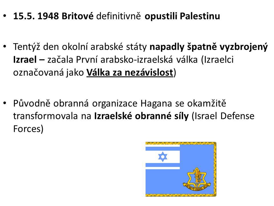 • Po 19 měsících vítězství Izraele (zbraně z Československa) • Výsledky: – Zvětšení území o 1/5 – Obsazení západní části Jeruzaléma – Západní břeh Jordánu a východní Jeruzalém si ponechalo Jordánsko – Pásmo Gazy zůstalo obsazené Egyptem – Přístup do Starého města v Jeruzalémě zůstal zakázán až do roku 1967 – Útěk cca 800 000 palestinských Arabů – Imigrace cca 600 000 Židů z arabských zemí