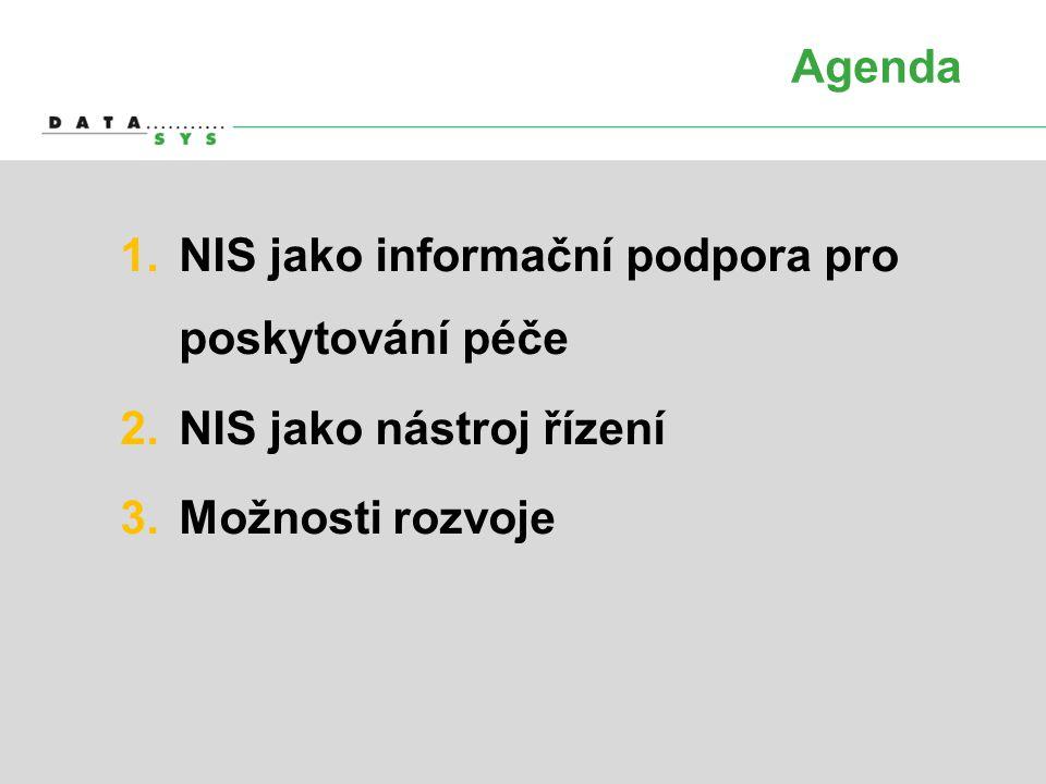 Agenda 1.NIS jako informační podpora pro poskytování péče 2.NIS jako nástroj řízení 3.Možnosti rozvoje