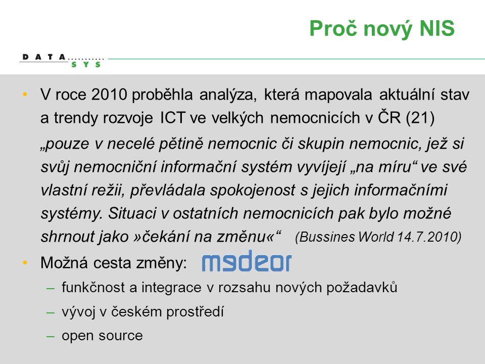 """Proč nový NIS •V•V roce 2010 proběhla analýza, která mapovala aktuální stav a trendy rozvoje ICT ve velkých nemocnicích v ČR (21) •""""•""""pouze v necelé p"""