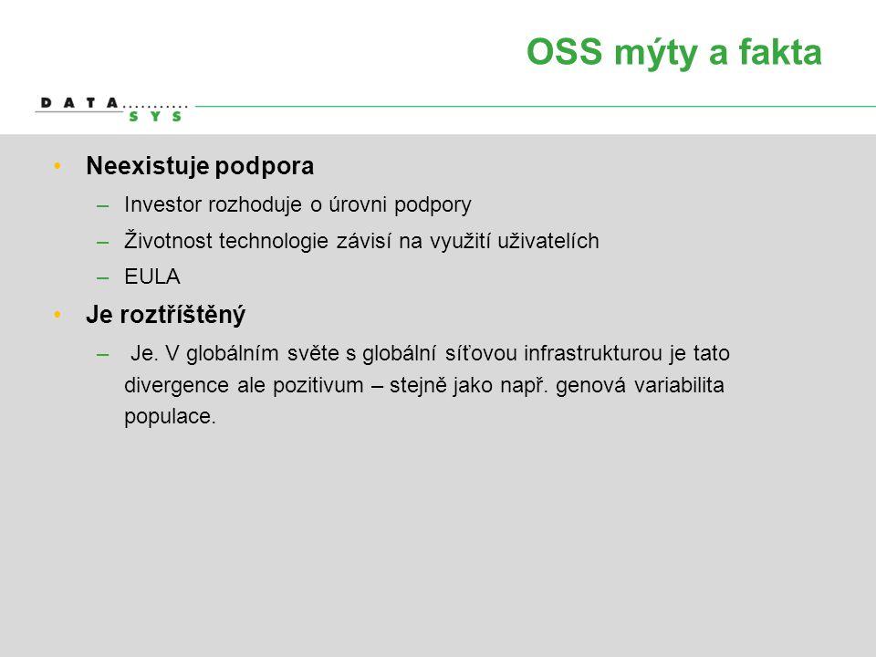 OSS mýty a fakta •Neexistuje podpora –Investor rozhoduje o úrovni podpory –Životnost technologie závisí na využití uživatelích –EULA •Je roztříštěný –