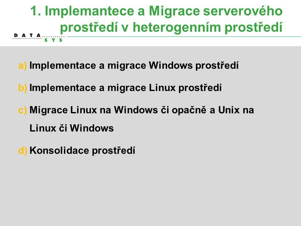 1. Implemantece a Migrace serverového prostředí v heterogenním prostředí a)Implementace a migrace Windows prostředí b)Implementace a migrace Linux pro
