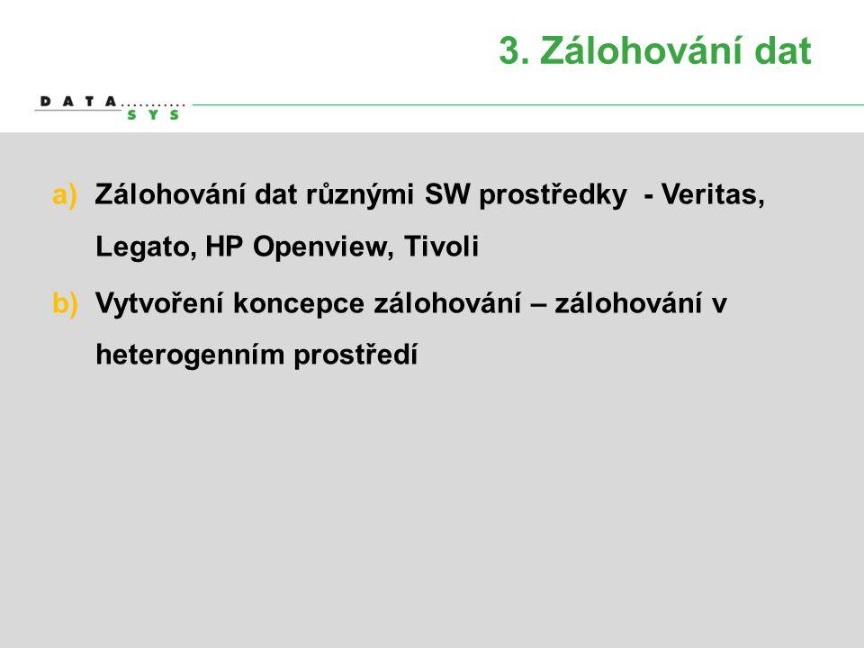 3. Zálohování dat a)Zálohování dat různými SW prostředky - Veritas, Legato, HP Openview, Tivoli b)Vytvoření koncepce zálohování – zálohování v heterog