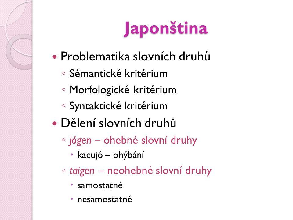 Japonština  Problematika slovních druhů ◦ Sémantické kritérium ◦ Morfologické kritérium ◦ Syntaktické kritérium  Dělení slovních druhů ◦ jógen – ohe